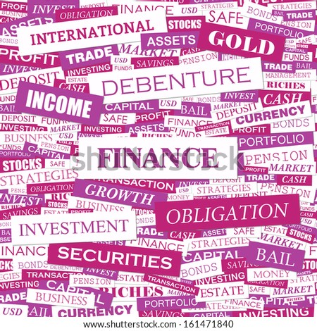 FINANCE. Background concept wordcloud illustration. Print concept word cloud. Graphic collage. Vector illustration. - stock vector