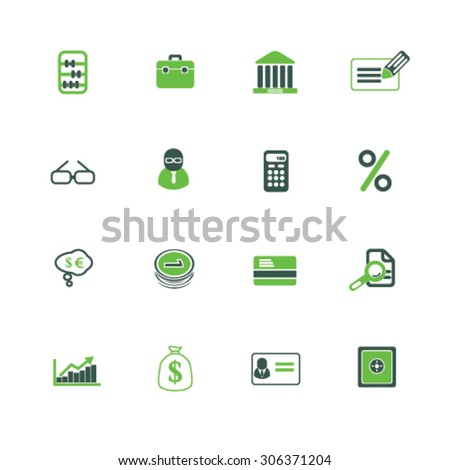 finance, bank, investment icons, signs, illustrations  - stock vector