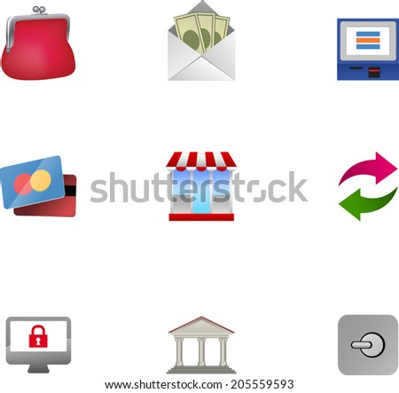 Finance & banking 3D icons set.