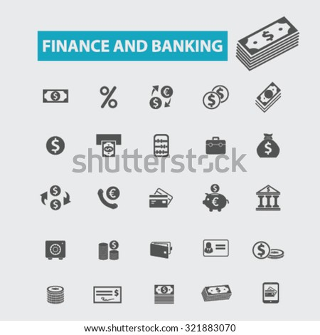 finance, banking, investment icons - stock vector