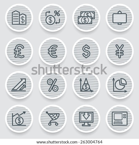 Finance black icons on gray stickers. - stock vector