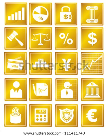 finance business and banking icon set, gold icon - stock vector