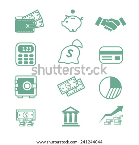 Finance business bank set  Icons- Vector illustration - stock vector