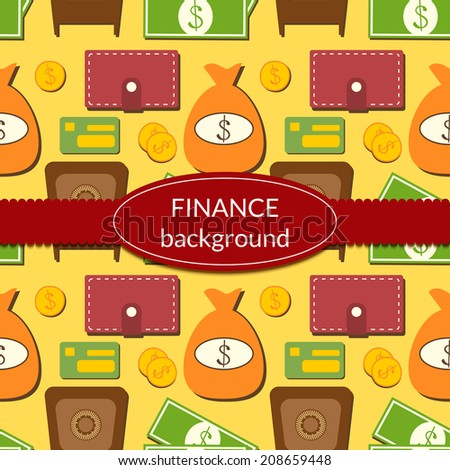 Finance business economics background with objects in flat style and ribbon and label for text
