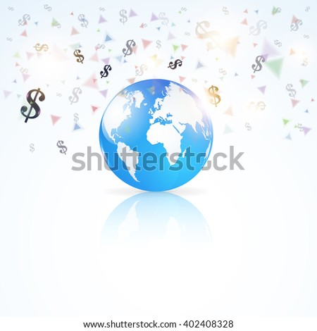 Finance Concept Isolated Globe World Symbol. Vector Dollars Sign Fall Illustration - stock vector