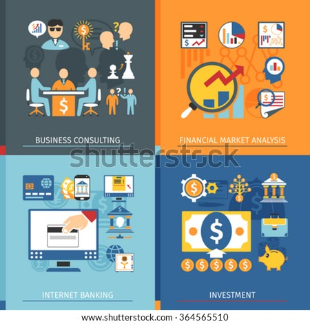 Finance Concept Set With Icons In Flat Style. Online Banking, Business Consulting And Investment Elements - stock vector
