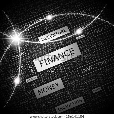 FINANCE. Concept vector illustration. Word cloud with related tags and terms. Graphic tag collection. Wordcloud collage.