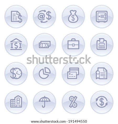 Finance contour icons on blue buttons. - stock vector