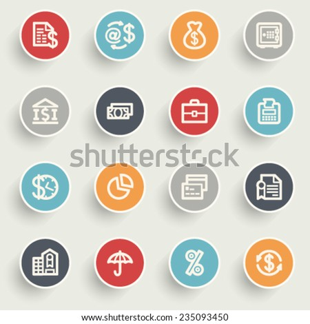 Finance contour icons on color buttons. - stock vector