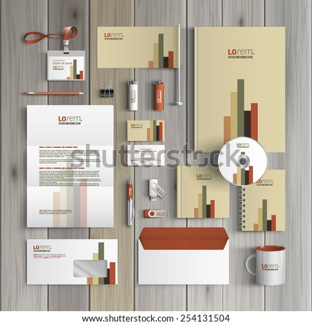 Finance corporate identity template design with color infographic. Business stationery - stock vector