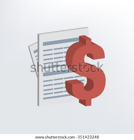 Finance document design,three dimension,vector - stock vector