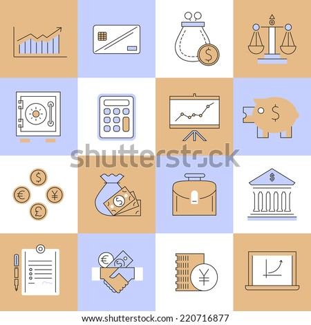Finance flat line icons set with cash handshake calculator isolated vector illustration