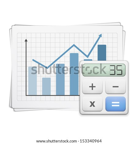 Finance graph and calculator, vector eps10 illustration - stock vector