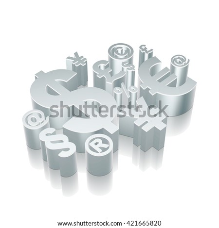 Finance icon: 3d metallic Finance Symbol with reflection on White background, EPS 10 vector illustration. - stock vector