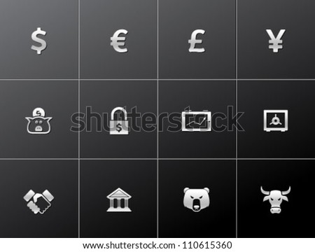 Finance icon series in metallic style - stock vector