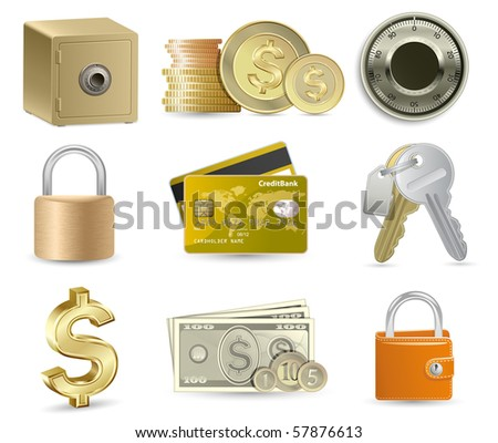 Finance Icon Set. Highly detailed vector illustration. - stock vector