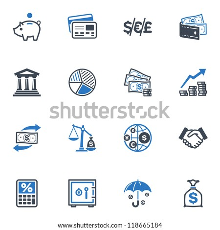 Finance Icons - Blue Series - stock vector