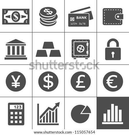 Finance Icons. Each icon is a single object (compound path). Simplus series - stock vector