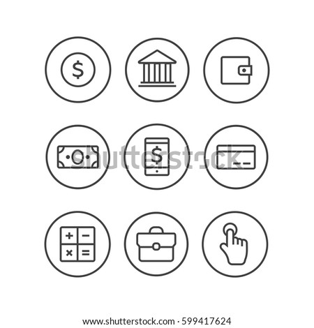 Finance icons. Finance icons line style vector