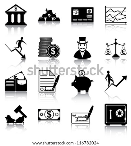 Finance icons - 16 finance related icons/ silhouettes. - stock vector