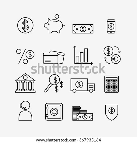 Finance icons isolated on background. Bank icons set. Money box, dollar, money exchange, mobile banking, credit card. Outline bank icons for web business. Flat line style vector illustration.