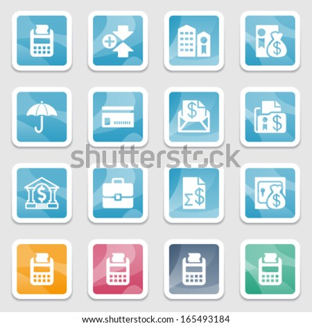 Finance icons on color stickers. - stock vector