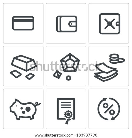 Finance icons set - stock vector