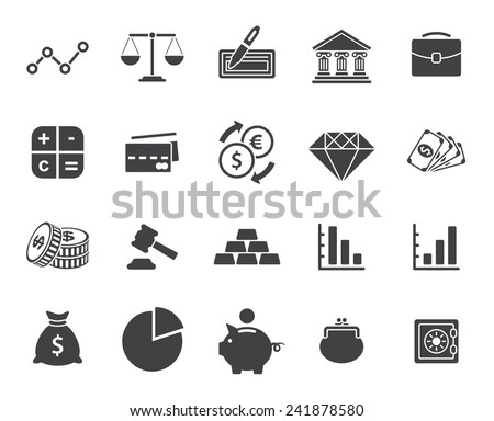 Finance icons set (modern flat design) - stock vector