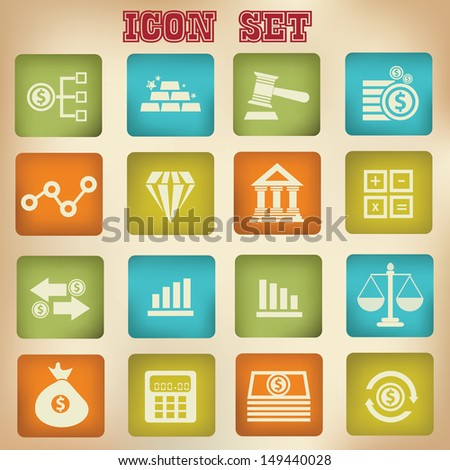 Finance icons,Vintage buttons,vector - stock vector