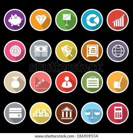 Finance icons with long shadow, stock vector