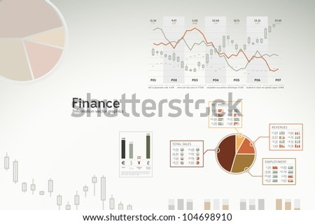 Finance infographics - graphs, charts and statistics for presentations, reports, etc. - stock vector