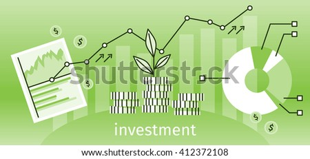 Finance investment concept banner. Graph or chart the growth of financial investment. Business Pie Chart increase in profits money. Metaphor sprout grew on a stack of gold coins. Vector illustration - stock vector