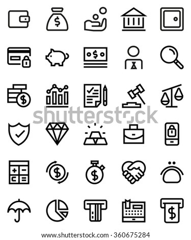 Finance line icon set. Pixel perfect fully editable vector icon suitable for websites, info graphics and print media.
