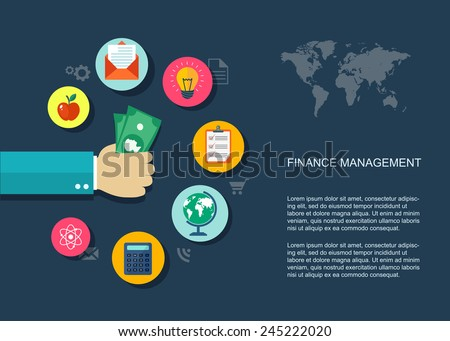 Finance marketing flat illustration with icons. Eps10 - stock vector