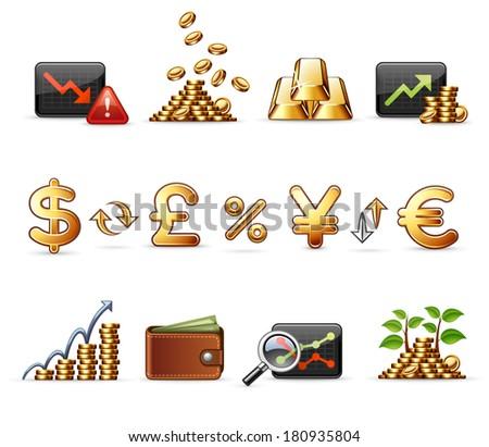 Finance, Money and Economy  |  Professional icon set - stock vector