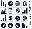 Finance, money, currency exchange, world economy, financial analysis icons. - stock photo