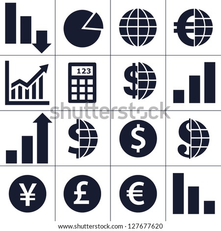 Finance, money, currency exchange, world economy, financial analysis icons. - stock vector