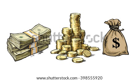 Finance, money set. Paper money, stack of coins, sack of dollars. Hand drawn collection isolated on white background. Vector illustration. - stock vector