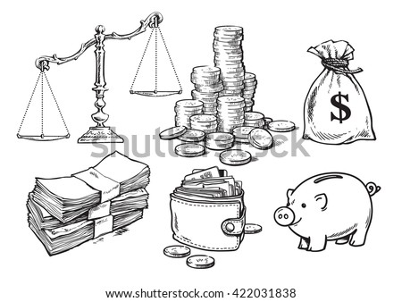 Finance, money set. Scales, stack of coins sack of dollars paper money wallet piggy bank Sketch Hand drawn collection isolated on white background. Vector illustration  design for banks, pawn shops. - stock vector