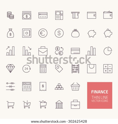 Finance Outline Icons for web and mobile apps - stock vector