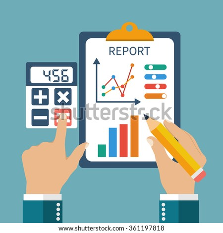 Finance report, concept flat style. Money income, management, profit, strategy, investments and planning.  Financial report on schedule, pencil in his hands and calculator. - stock vector