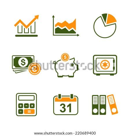 Finance simple vector icon set - diagram, graph, cash, money box, safe, calculator, calendar and documents - stock vector