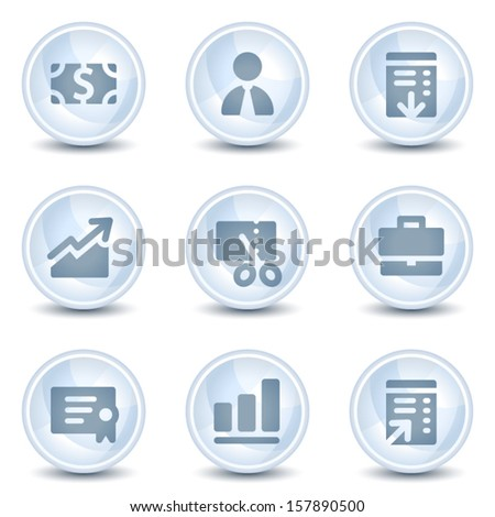Finance web icons, light blue glossy circle  buttons - stock vector