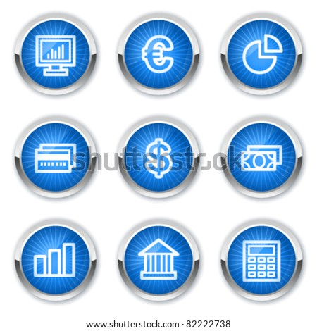 Finance web icons set 1, blue buttons - stock vector