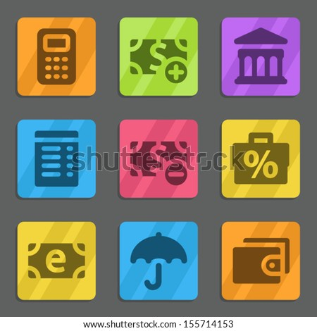Finance web icons set 2 color flat series