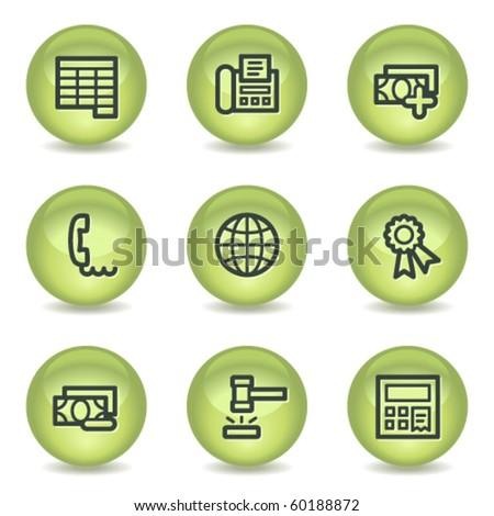 Finance web icons set 2, green glossy circle buttons - stock vector