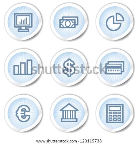 Finance web icons set 1, light blue stickers - stock vector