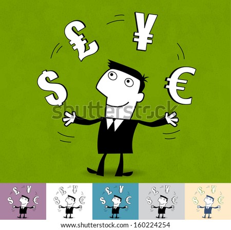 Finances, currency. Business cartoon illustration (EPS 10). Animation friendly: the elements (arms, heads etc) are in the separate layers. Seamless pattern on the background (its color can be changed) - stock vector