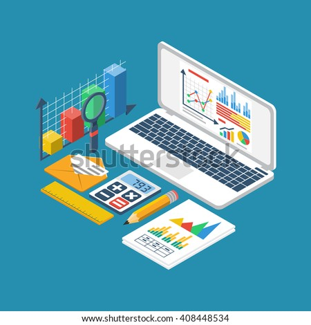 Financial accounting concept. Organization process, analytics, research, business report, financial statistic, management. 3d isometric design style vector. Laptop, graphic, documents, chart - stock vector