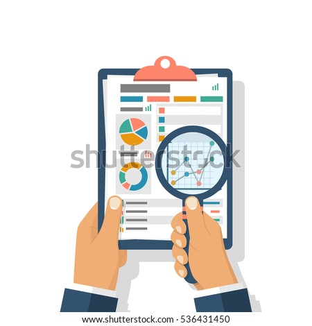 Financial accounting concept. Organization process, analytics, research, planning, report, market analysis. Flat style vector. Businessman holding magnifying glass, clipboard financial tables, graphs.